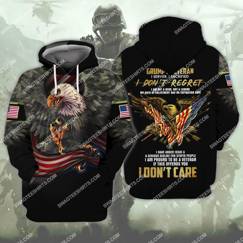 i am a grumpy old veteran i served i sacrificed veterans day full print hoodie 1