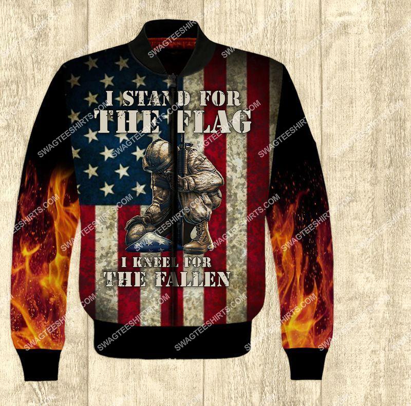 i stand for the flag and kneel for the fallen veterans day full print bomber 1