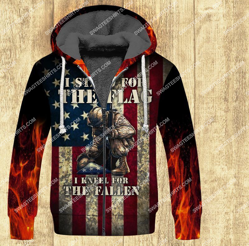 i stand for the flag and kneel for the fallen veterans day full print fleece hoodie 1