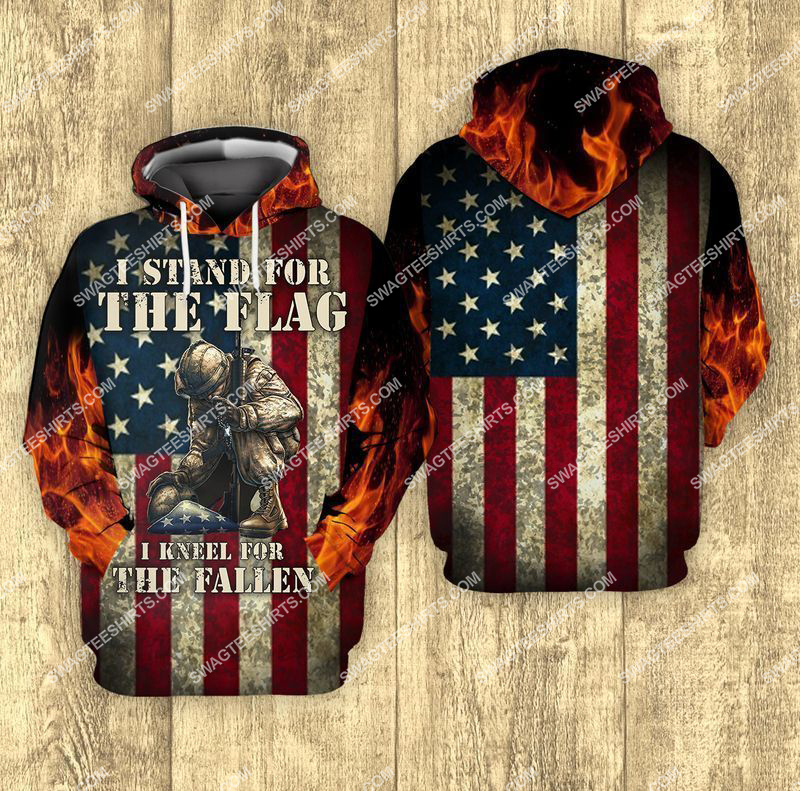 i stand for the flag and kneel for the fallen veterans day full print hoodie 1