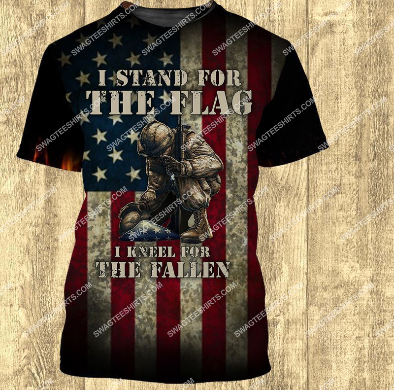 i stand for the flag and kneel for the fallen veterans day full print tshirt 1