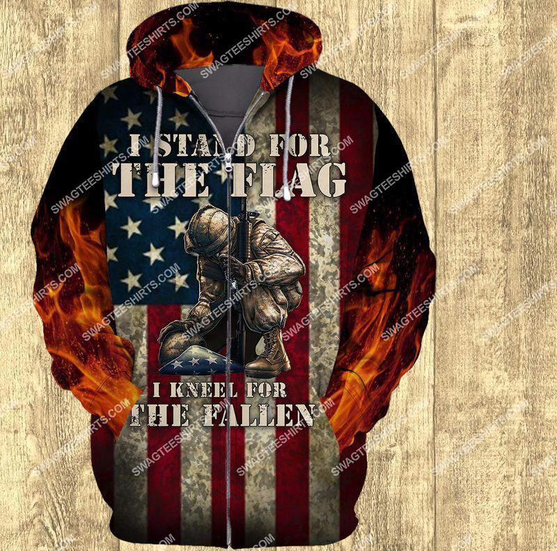i stand for the flag and kneel for the fallen veterans day full print zip hoodie 1