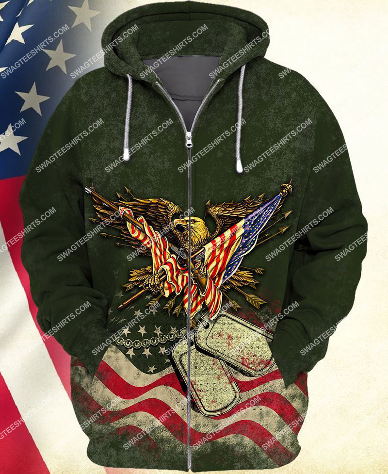 i took a dna test God is my father veterans are my brothers full print zip hoodie 1
