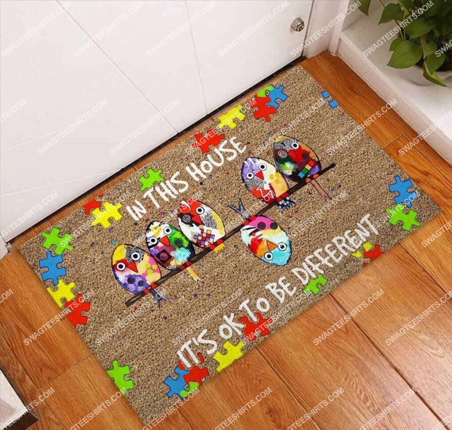 in this house its ok to be different autism awareness full print doormat 3(1)