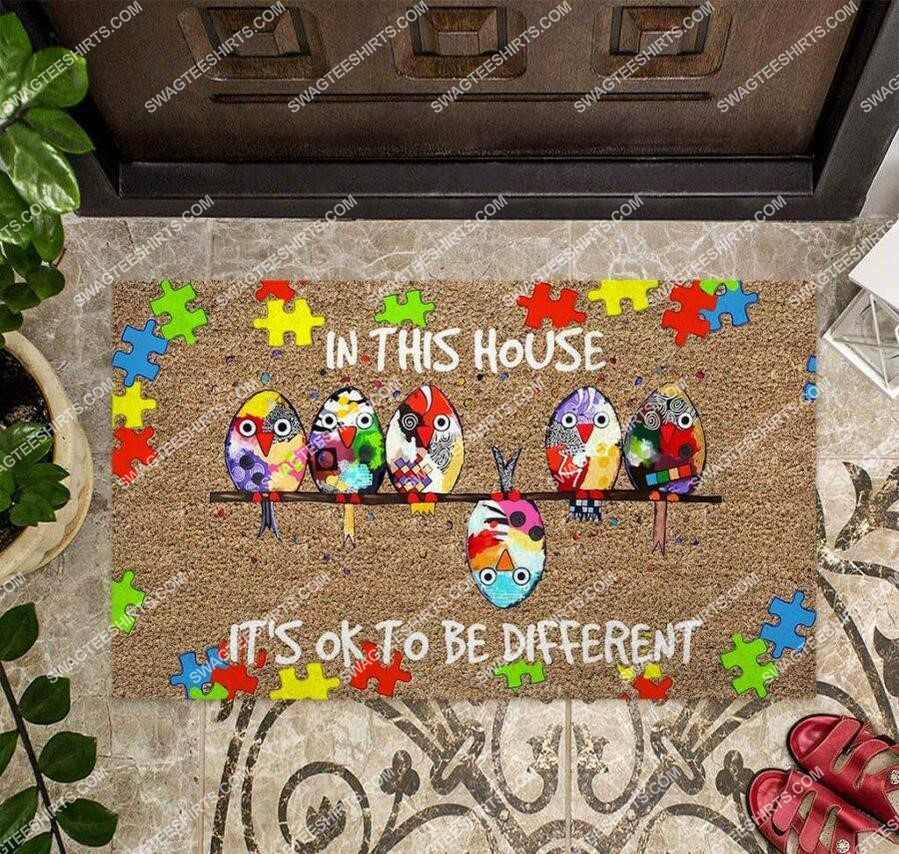 in this house its ok to be different autism awareness full print doormat 4(1)