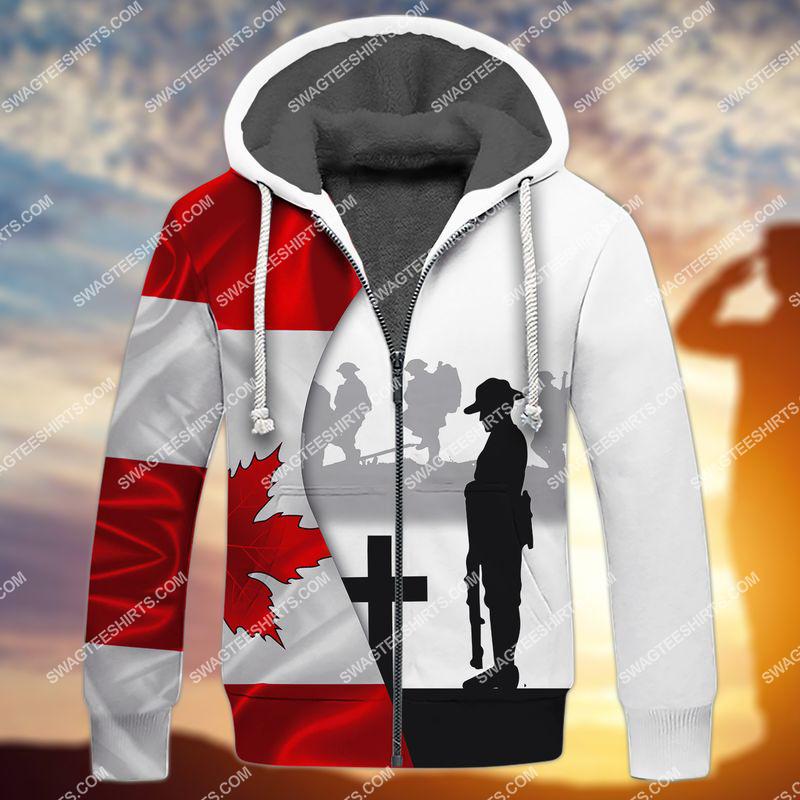 lest we forget canada veteran full print fleece hoodie 1
