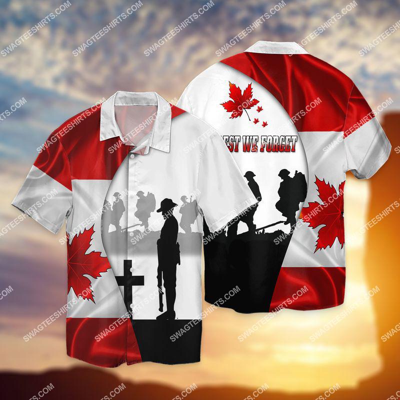 lest we forget canada veteran full print hawaiian shirt 1