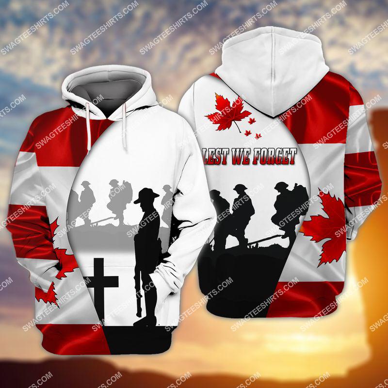 lest we forget canada veteran full print hoodie 1