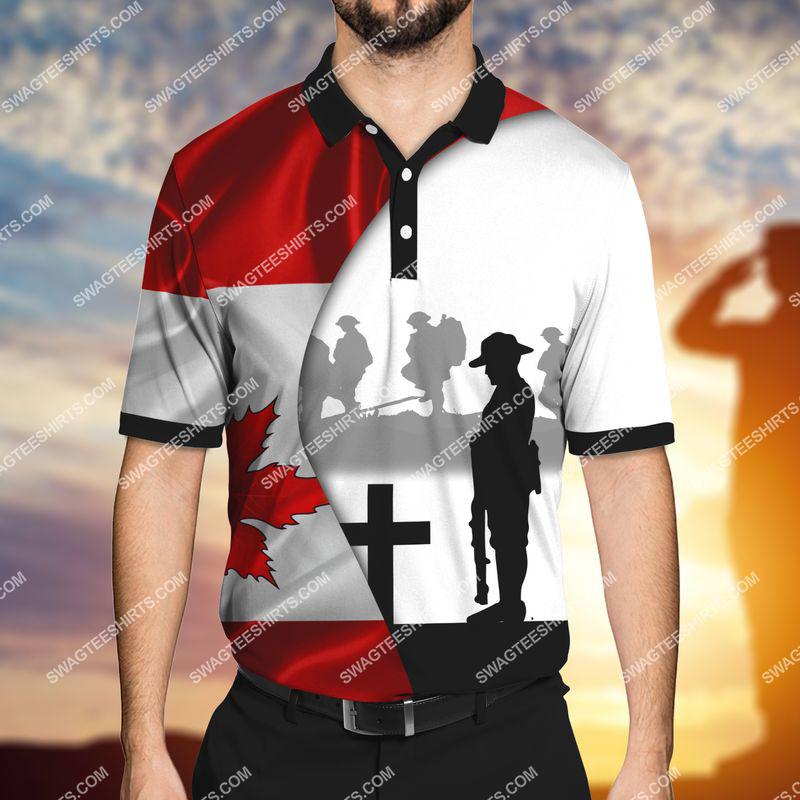 lest we forget canada veteran full print polo shirt 1