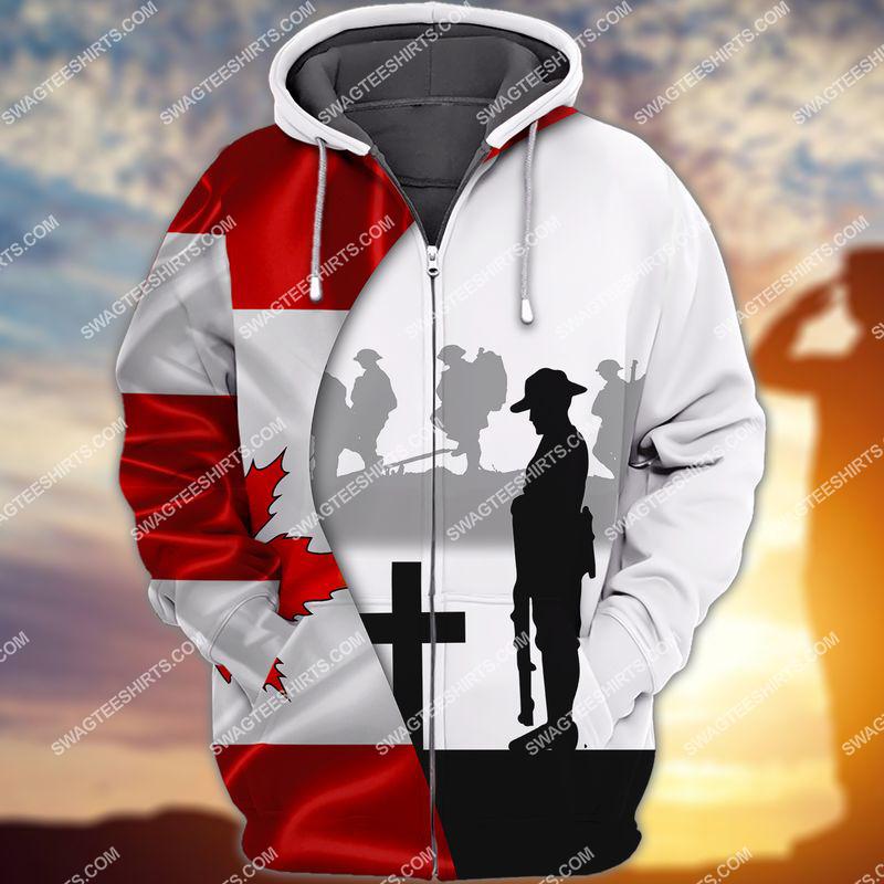 lest we forget canada veteran full print zip hoodie 1