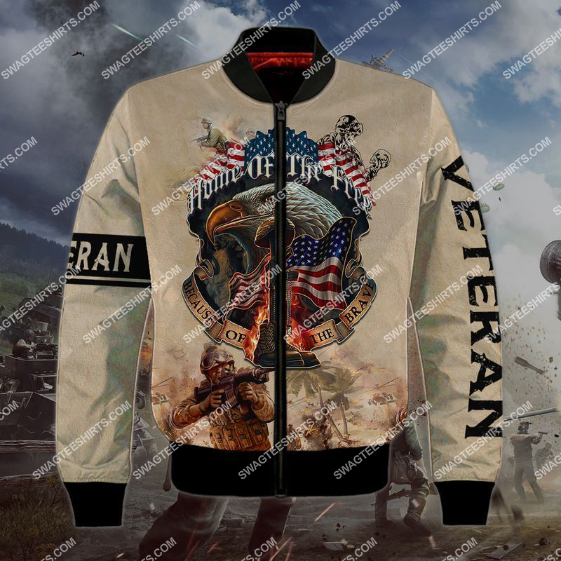 memorial day home of the free because of the brave full print bomber 1