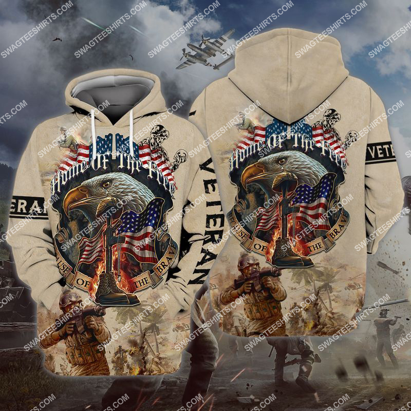 memorial day home of the free because of the brave full print hoodie 1