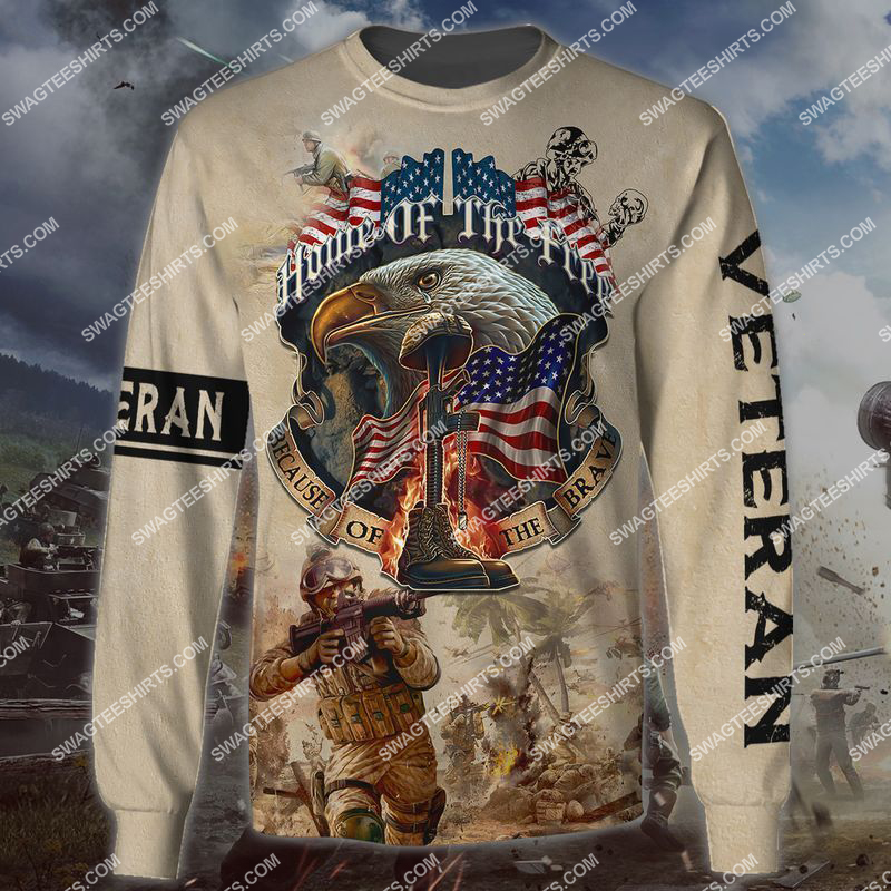 memorial day home of the free because of the brave full print sweatshirt 1