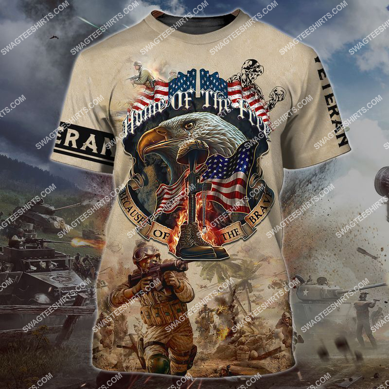 memorial day home of the free because of the brave full print tshirt 1