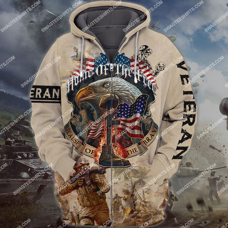 memorial day home of the free because of the brave full print zip hoodie 1