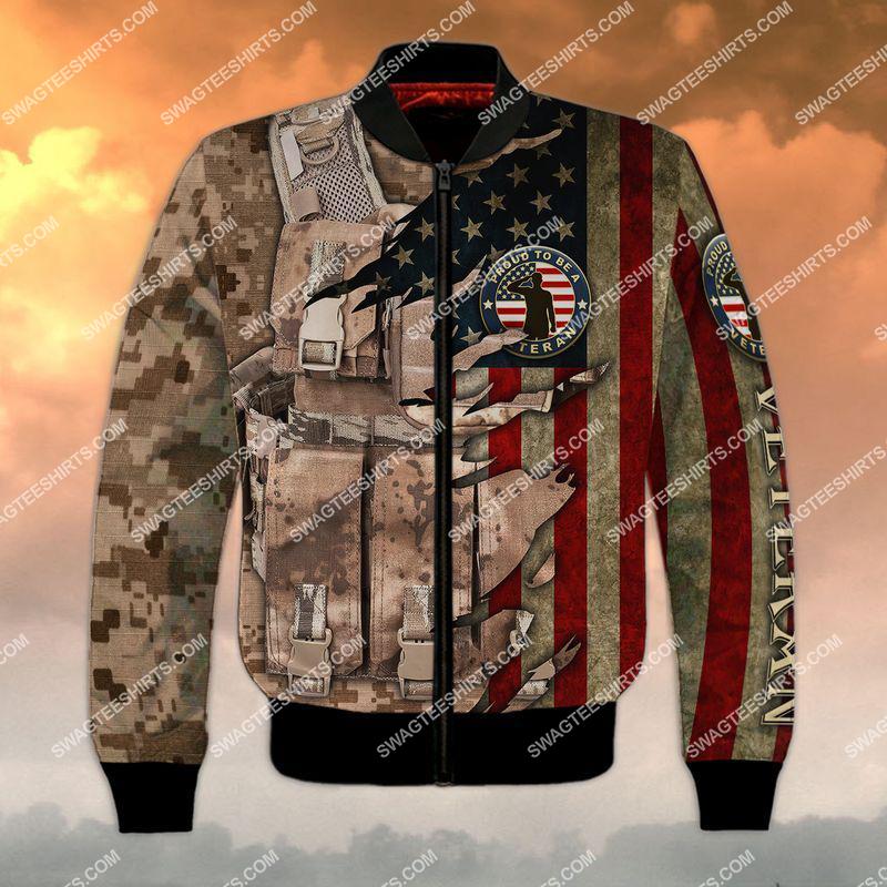 memorial day proud to be a veteran full print bomber 1