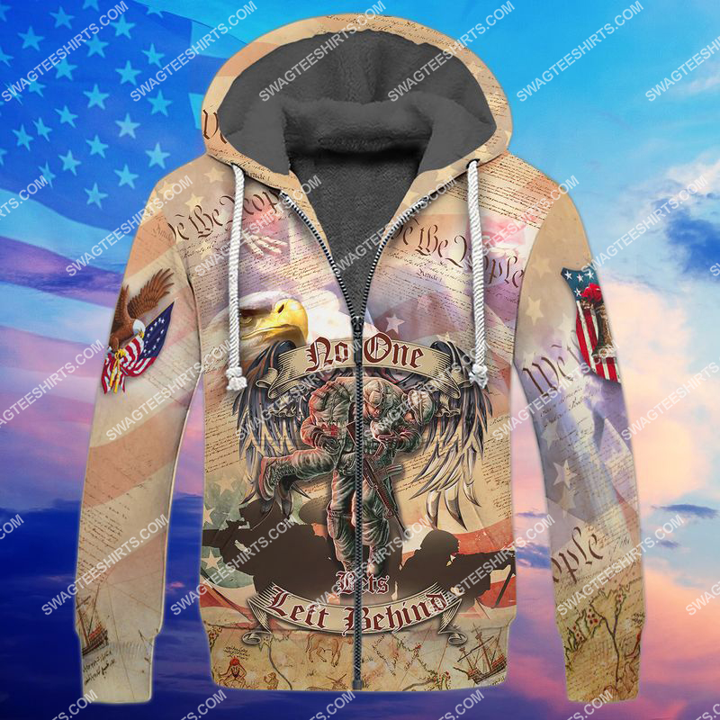no veteran left behind veterans day full print fleece hoodie 1