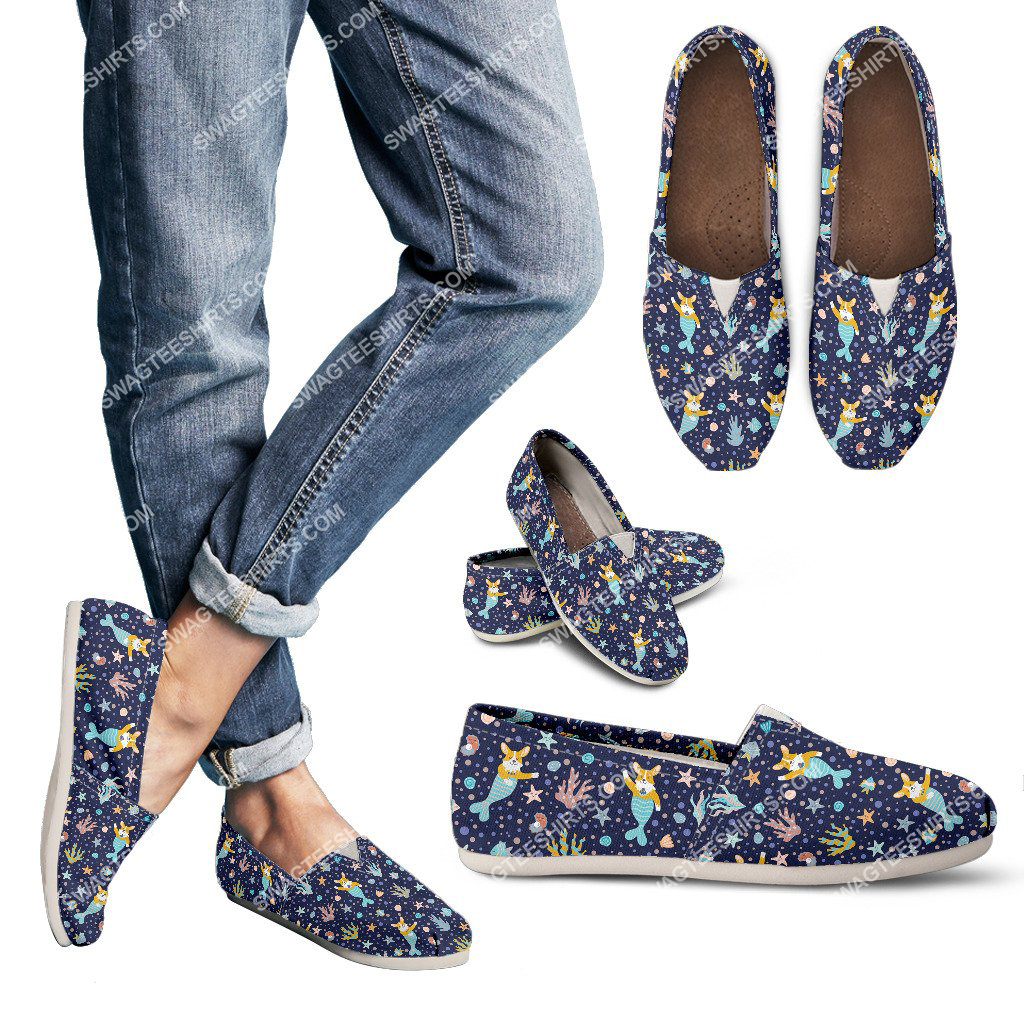 retro corgi mermaid dogs lover all over printed toms shoes 3(1)