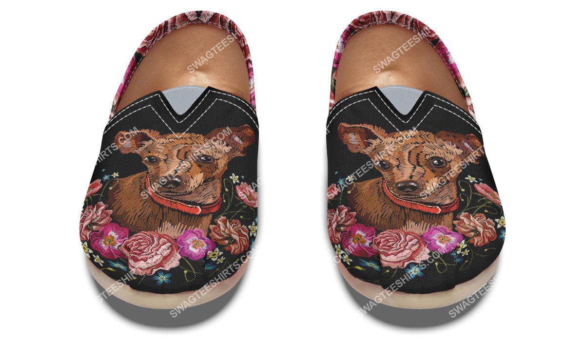 retro embroidery chihuahua dogs lover all over printed toms shoes 2(1)