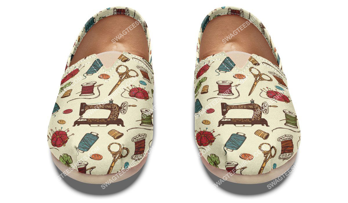sewing machine floral all over printed toms shoes 2(1)