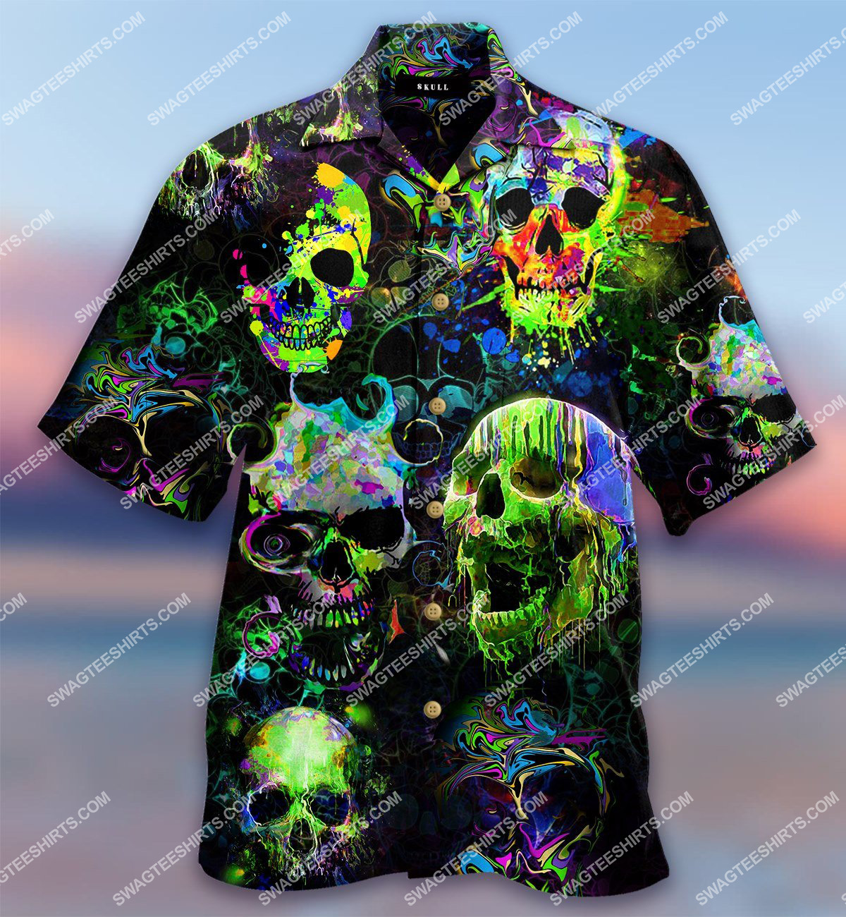 skull watercolor all over printed hawaiian shirt 1(2) - Copy