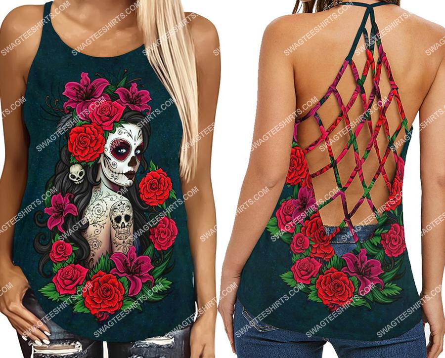 sugar skull girl and flower full print criss-cross tank top 2(1)