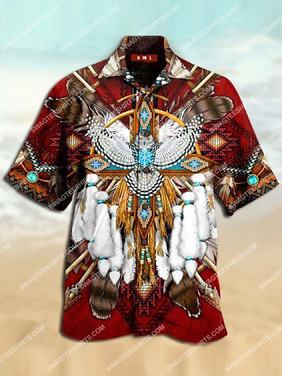 the native american owl all over printed hawaiian shirt 1(1) - Copy