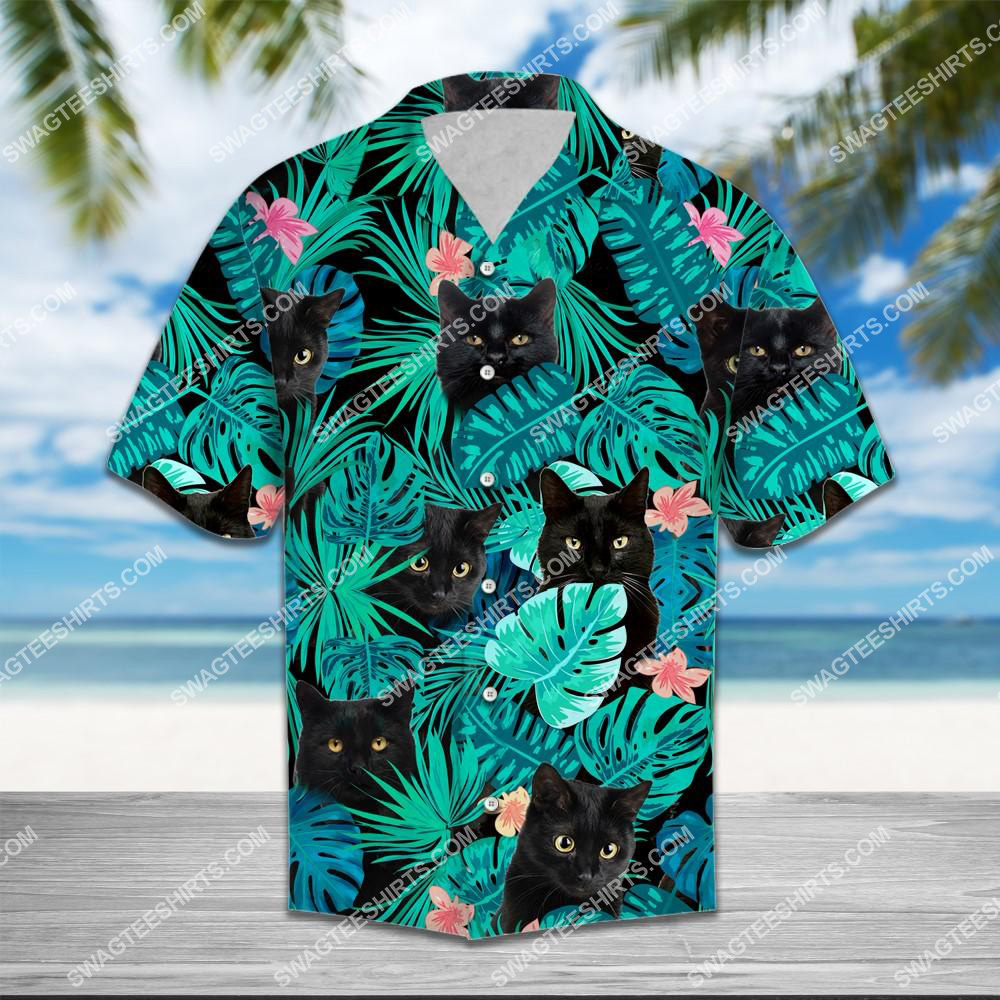 the tropical black cats lover all over printed hawaiian shirt 1(1)