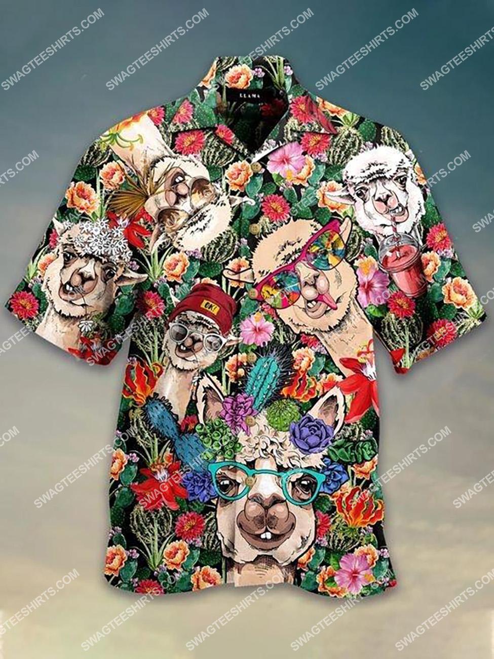 the tropical llama lover all over printed hawaiian shirt 1(1)