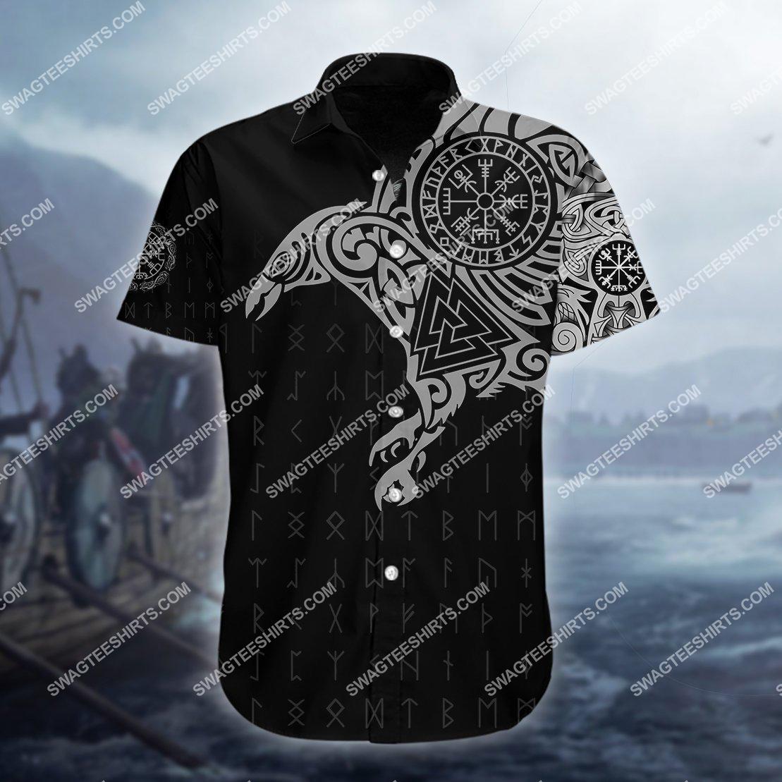 the viking warrior raven all over printed hawaiian shirt 1(1)