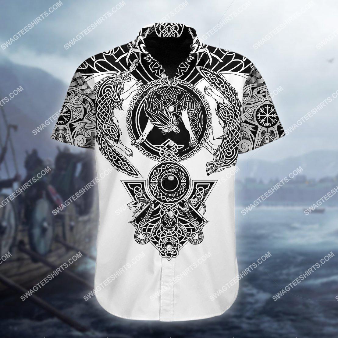 the viking warrior raven and wolf all over printed hawaiian shirt 1(1)