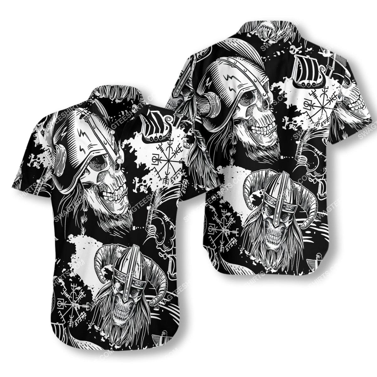the viking warrior skull all over printed hawaiian shirt 1(1)