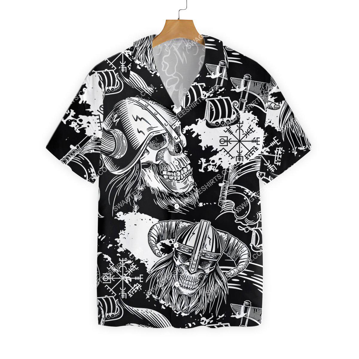 the viking warrior skull all over printed hawaiian shirt 2(1)