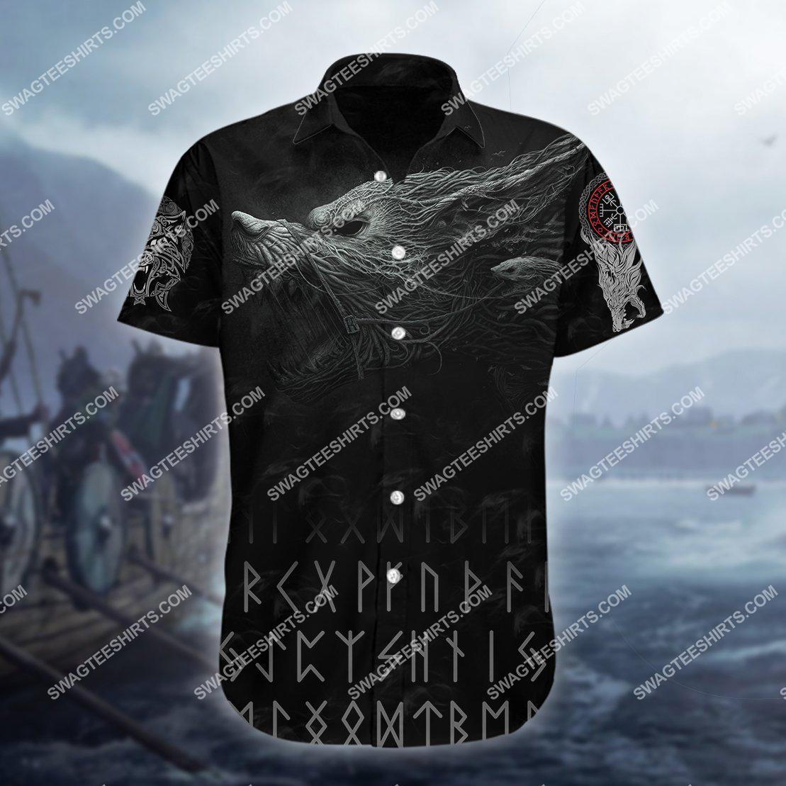 the viking warrior wolf all over printed hawaiian shirt 1(1)