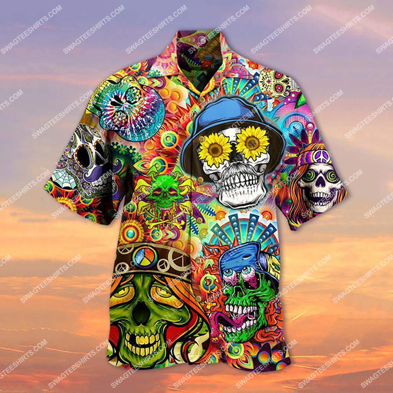 tropical skull hippie style all over printed hawaiian shirt 1(1)