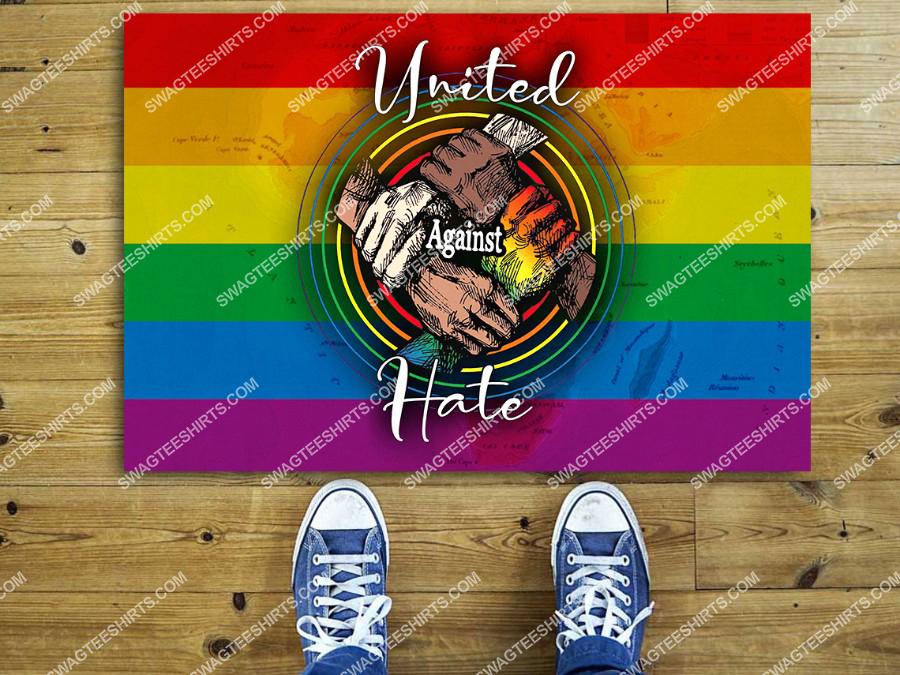 united against hate lgbt pride black pride equality right full print doormat 2(1)