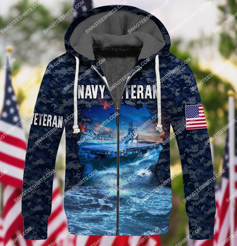 united states navy veteran battleship ocean full print fleece hoodie 1