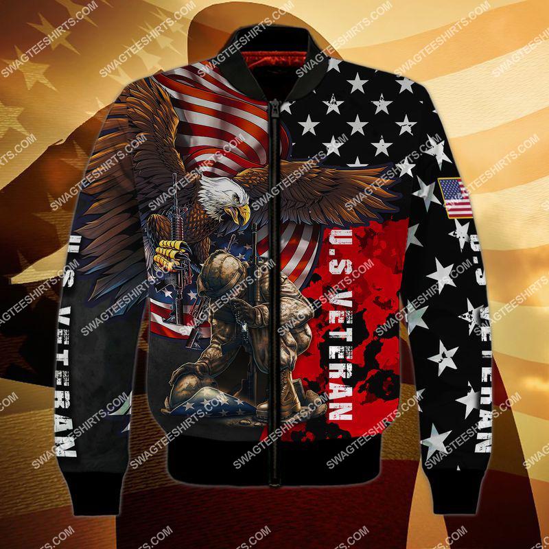 united states veteran stand for the flag kneel for the cross full print bomber 1
