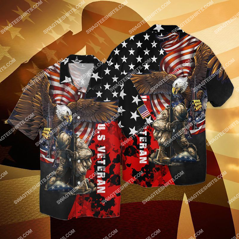 united states veteran stand for the flag kneel for the cross full print hawaiian shirt 1