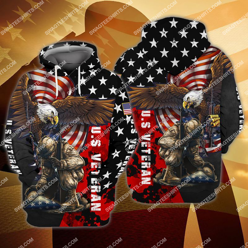 united states veteran stand for the flag kneel for the cross full print hoodie 1