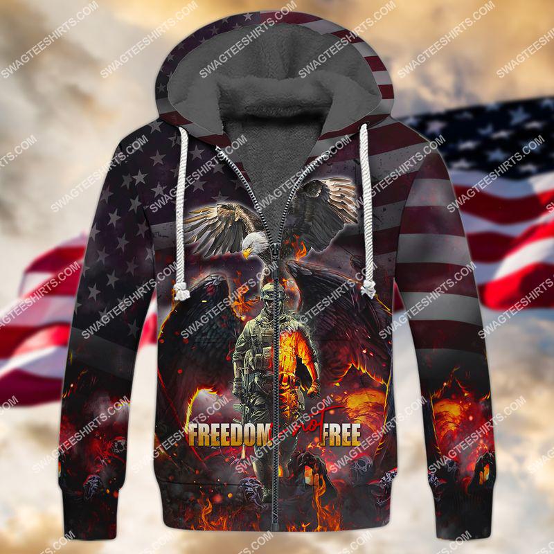 veterans day freedom is not free full print fleece hoodie 1