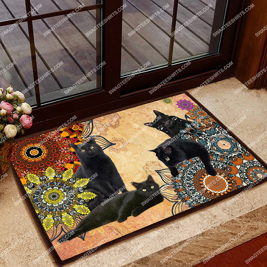 vintage colorful black cats welcome full print doormat 2(1)