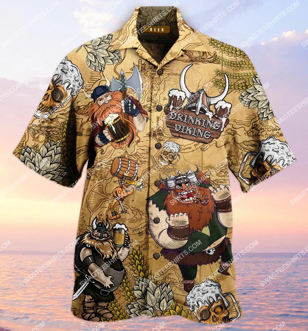 vintage drinking viking all over printed hawaiian shirt 1(1)