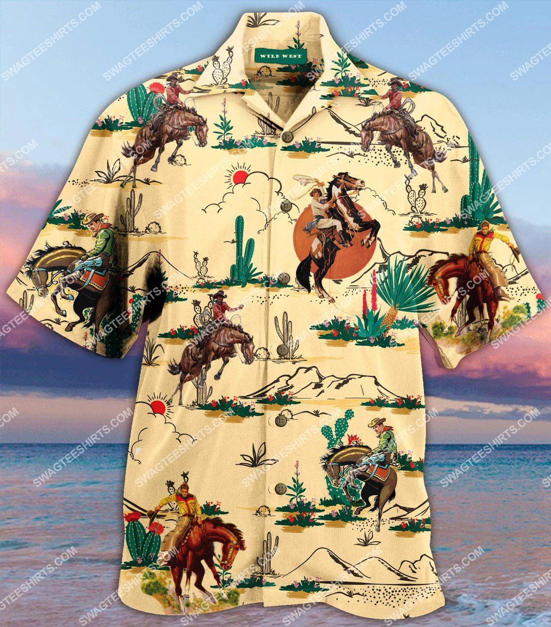 vintage horse and cowboy all over printed hawaiian shirt 1(1)