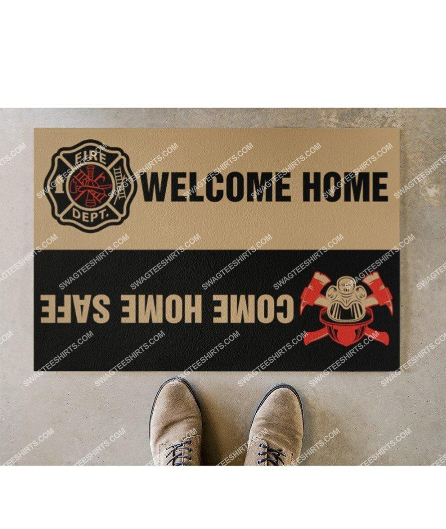 welcome home come home safe firefighter full print doormat 5(1)
