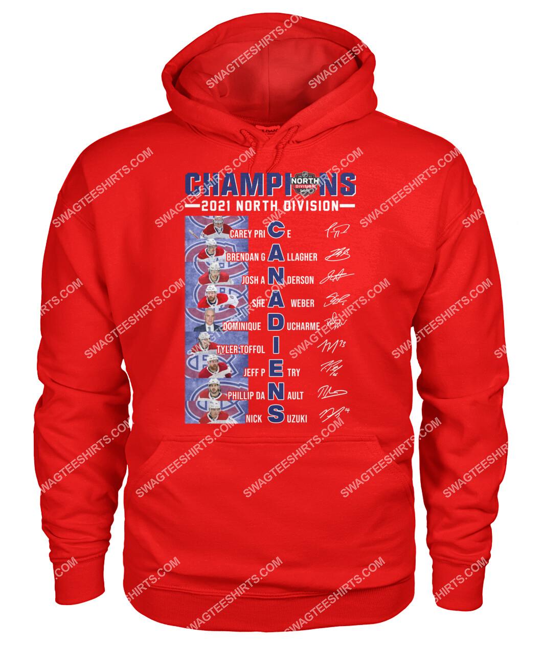 2021 north division champions montreal canadiens signatures hoodie 1