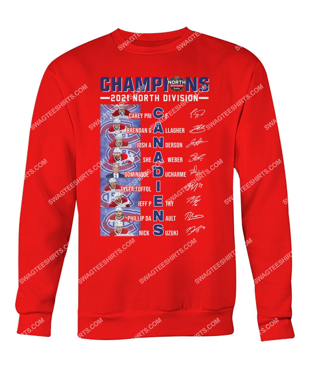2021 north division champions montreal canadiens signatures sweatshirt 1