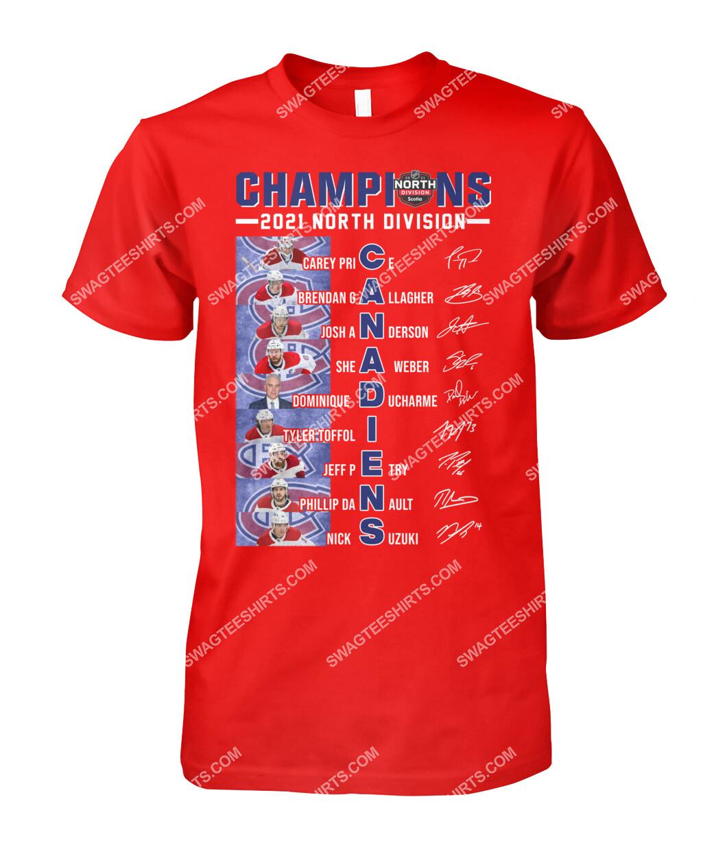 2021 north division champions montreal canadiens signatures tshirt 1