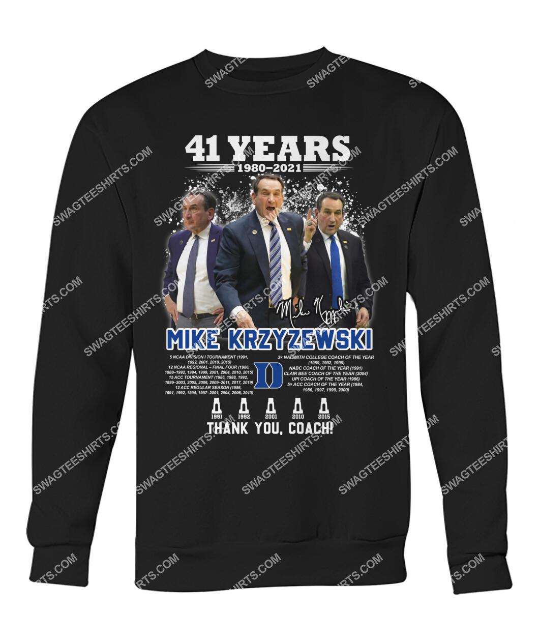 41 years 190 2021 mike krzyzewski thank you coach signatures sweatshirt 1
