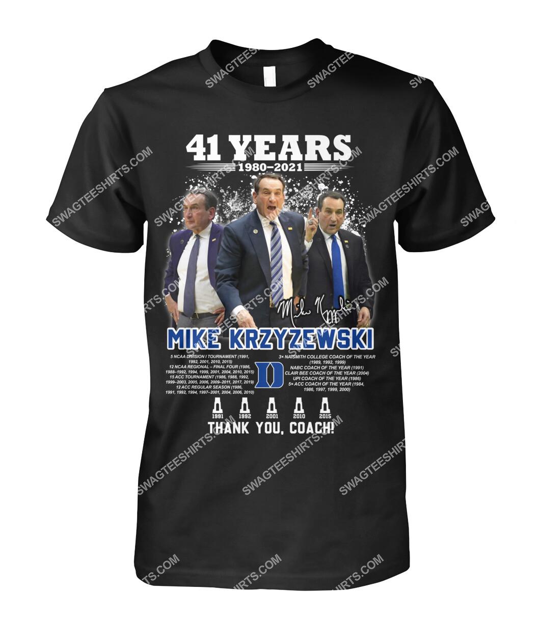41 years 190 2021 mike krzyzewski thank you coach signatures tshirt 1